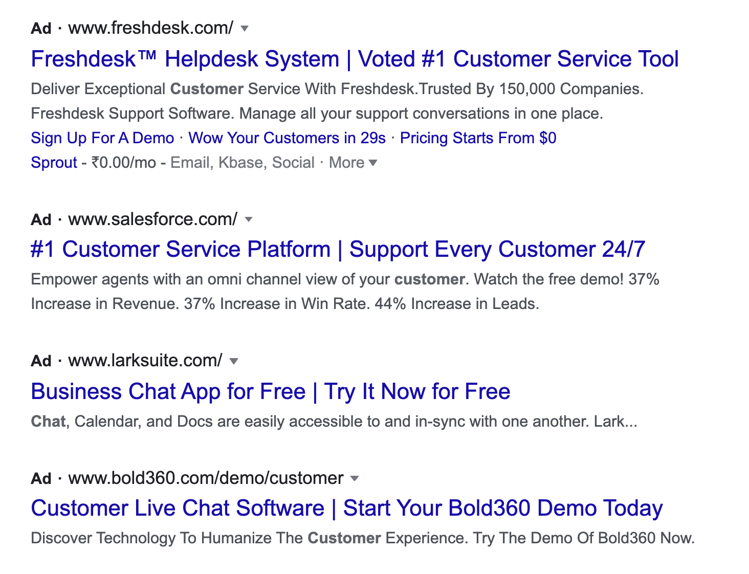 example of google ads for lead gen