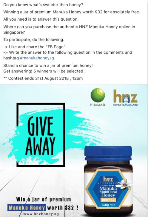 good facebook giveaway singapore