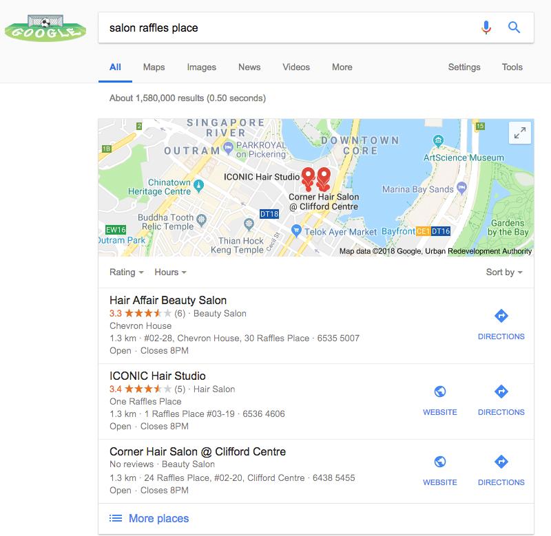 salon in google map singapore raffles place