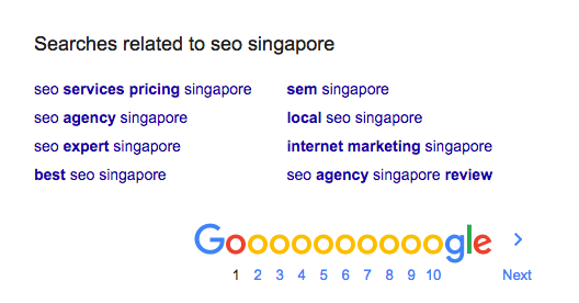 keywords related seo singapore