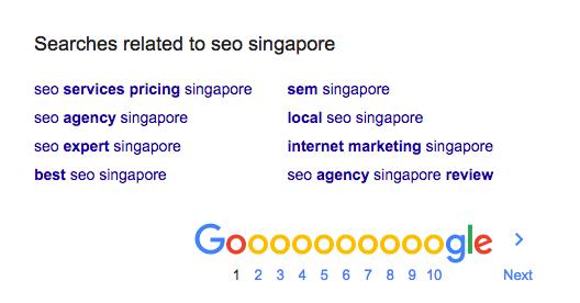 keywords related seo singapore